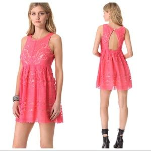 Free People Rocco Pink Lace Sleeveless Dress